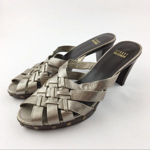 Stuart Weitzman Silver Bronze Slide Clogs Shoes 8